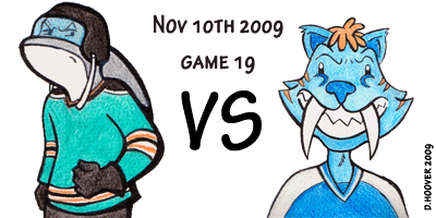 Sharks ve Nashvile Predators who are represented by a blue sabretooth tiger