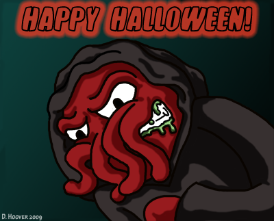 creepy looking red wings squid in a death like robe with Happy Halloween written overhead