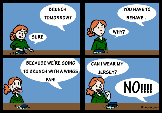 a comic about Gray having to dine with a Wing's fan