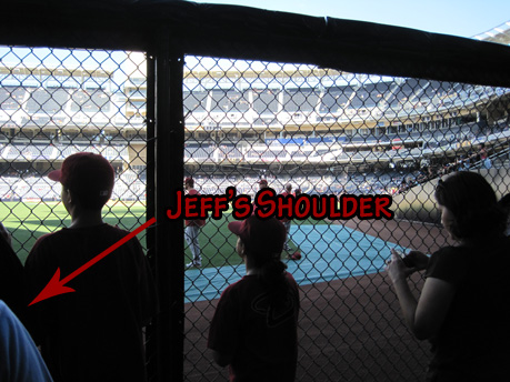 Jeff's shoulder and the outfield